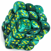 Malachite Green & Yellow Vortex 12mm D6 Dice Block